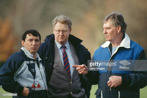 England manager Graham Taylor pictured with assistant manager Lawrie McMenemy and FA Chief Executive Graham Kelly in conversation at an England...