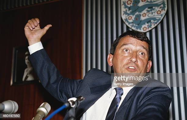 England manager Graham Taylor reacts during his Press unveiling as the new England manager at FA headquarters on July 16 1990 in London England