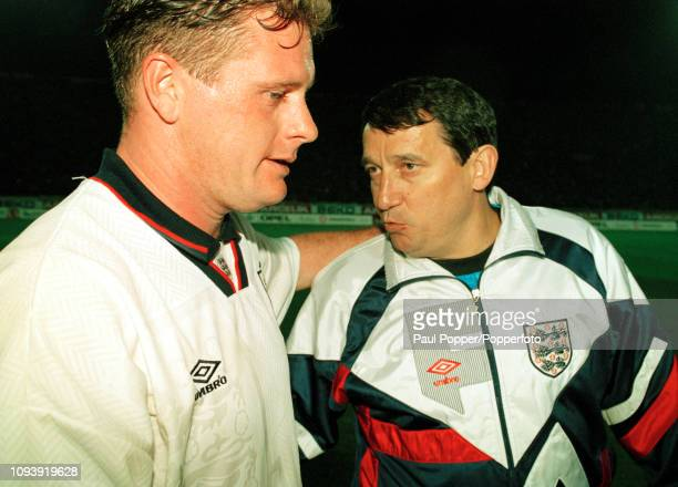 England manager Graham Taylor speaking to goalscorer Paul Gascoigne after the 1994 FIFA World Cup Qualifier between Turkey and England at the Ataturk...