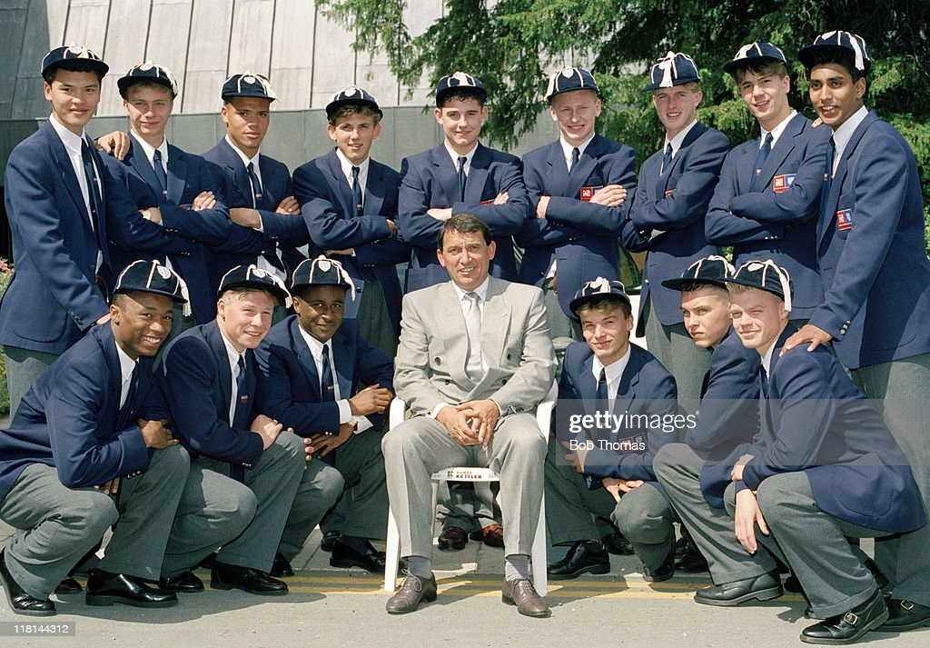 England manager Graham Taylor with the FA Schoolboys after their caps presentation ceremony at Lilleshall, 10th July 1990. Note: front row (2nd left) is Nicky Barmby who went on to play 23 times for the full England International team.