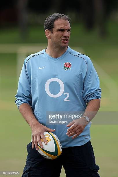 England manager Martin Johnson looks on during a England rugby training session at McGillivray Oval on June 5 2010 in Perth Australia