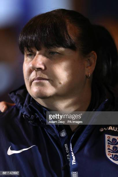 England manager Mo Marley during the 2019 Women's World Cup Qualifying Group One match at the Western Holmes Community Stadium Colchester