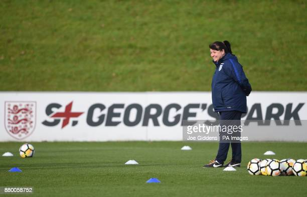 England manager Mo Marley during the training session at St George's Park Burton