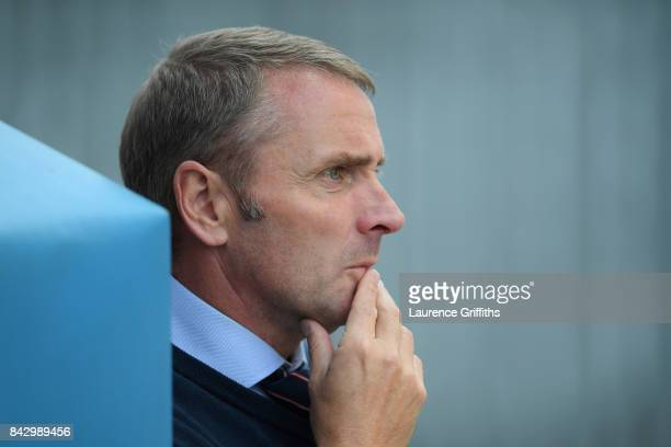 England manager Paul Simpson prior to the U19 International match between England and Germany at One Call Stadium on September 5 2017 in Mansfield...