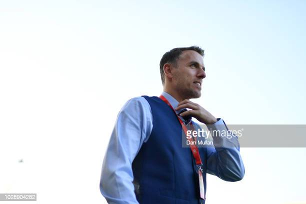 England manager Phil Neville looks on before the Women's World Cup qualifier between Wales Women and England Women at Rodney Parade on August 31 2018...