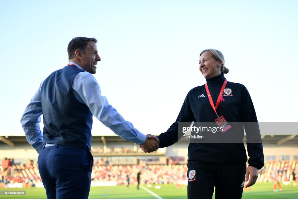 England manager phil neville shakes hands to greet wales manager wales v england fifa womens world cup qualifier news photo m4hsunfo