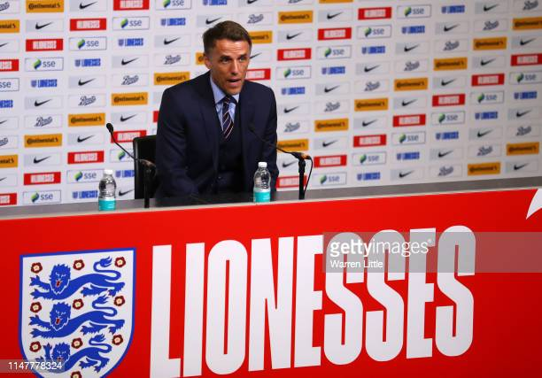England manager Phil Neville speaks during an England 2019 FIFA Women's World Cup squad media conference at Wembley Stadium on May 08 2019 in London...