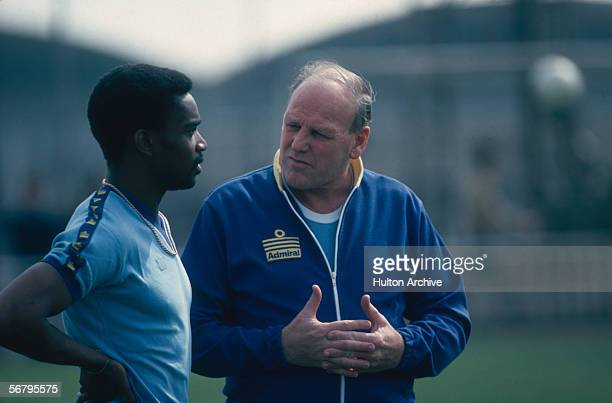 England manager Ron Greenwood with one of the team's strikers Laurie Cunningham April 1980
