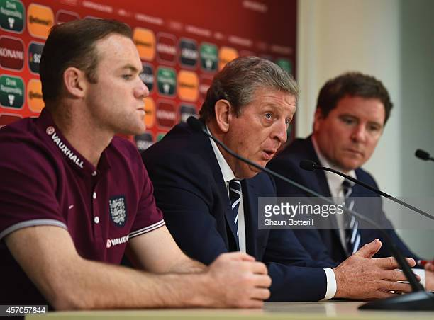 England manager Roy Hodgson and captain Wayne Rooney talk to the media during a press conference at A Le Coq Arena on October 11 2014 in Tallinn...