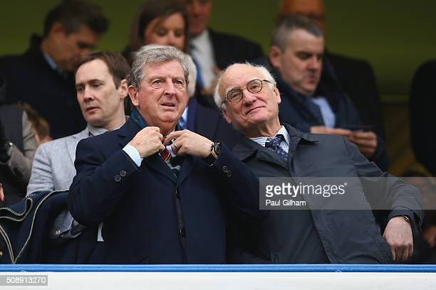 England Manager Roy Hodgson and Chelsea Chairman Bruce Buck look on during the Barclays Premier League match between Chelsea and Manchester United at...