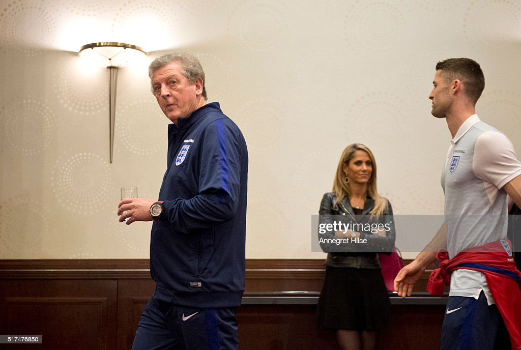 England manager Roy Hodgson and Gary Cahill of England arrive for a press conference, on the eve of their international friendly against Germany, at the Marriott Hotel on March 25, 2016 in Berlin, Germany.