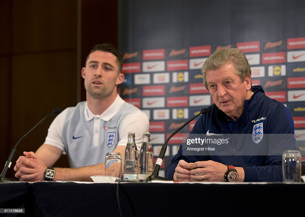 England manager Roy Hodgson and Gary Cahill of England attend a press conference, on the eve of their international friendly against Germany, at the Marriott Hotel on March 25, 2016 in Berlin, Germany.
