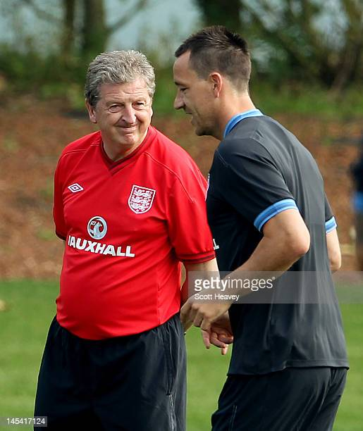 England manager Roy Hodgson and John Terry during an England Training Session at London Colney on May 29, 2012 in London, England.