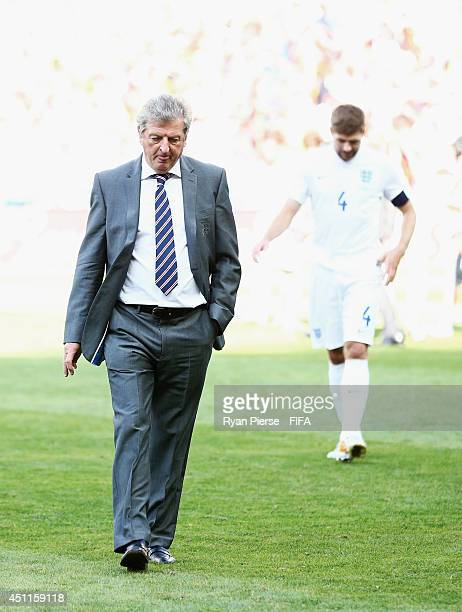 England manager Roy Hodgson and Steven Gerrard of England leave the pitch after after a 00 draw during the 2014 FIFA World Cup Brazil Group D match...