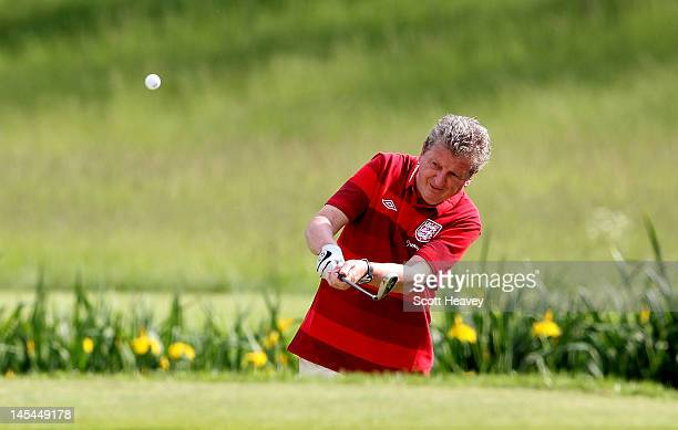 England manager Roy Hodgson in action during a Vauxhall Golf Day for the England Football team at The Grove Hotel on May 30 2012 in Hertford England
