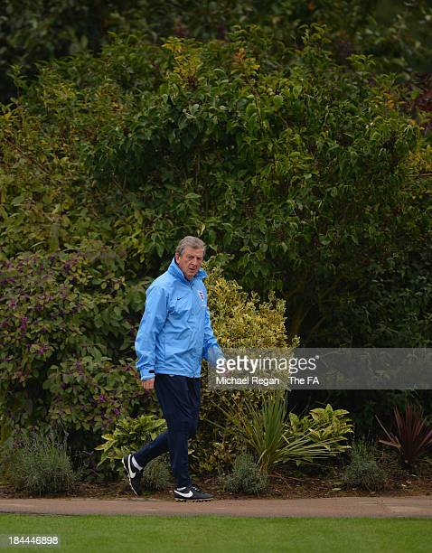 England manager Roy Hodgson looks on during the England training session at London Colney on October 14, 2013 in St Albans, England.