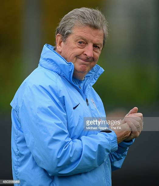 England manager Roy Hodgson looks on during the England training session at London Colney on November 18, 2013 in St Albans, England.