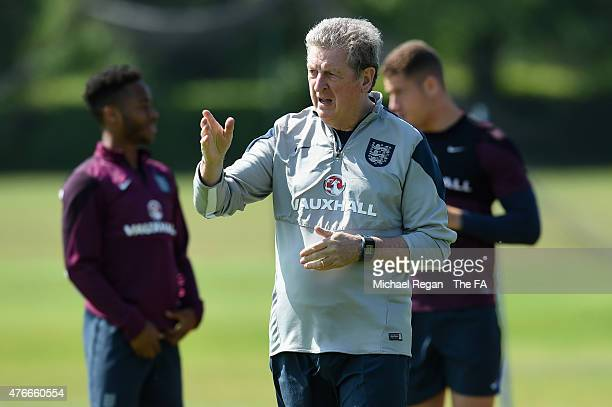 England manager Roy Hodgson looks on during the England training session on June 11, 2015 in St Albans, England.