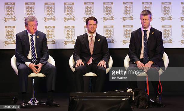 England manager Roy Hodgson Michael Owen and blind footballer Dave Clarke attend the official launch to mark the FA's 150th Anniversary Year at the...