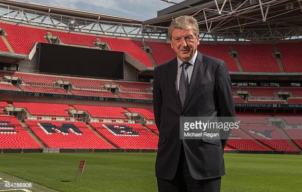 England manager Roy Hodgson poses after speaking to the media during the England squad announcement at Wembley Stadium on August 28 2014 in London...