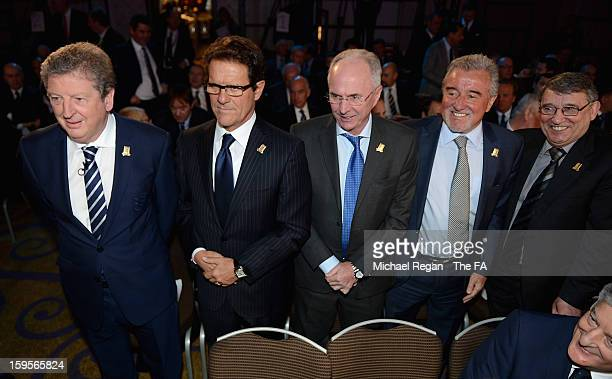 England manager Roy Hodgson poses with former England managers Fabio Capello, Sven-Goran Eriksson, Terry Venables and Graham Taylor during the...