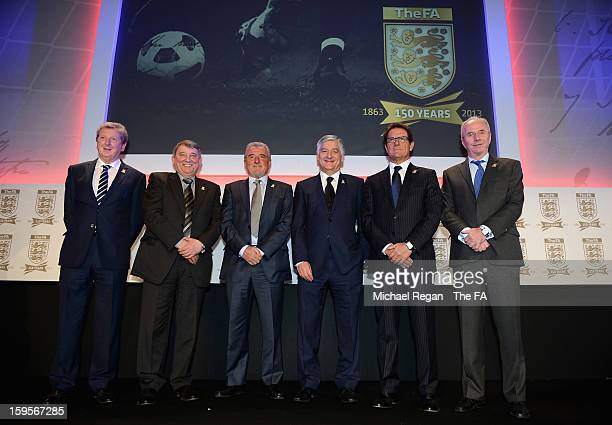 England manager Roy Hodgson poses with former England managers Graham Taylor, Terry Venables, Fabio Capello, Sven-Goran Eriksson and FA Chairman...