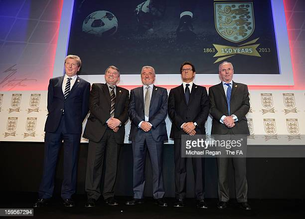 England manager Roy Hodgson poses with former England managers Graham Taylor, Terry Venables, Fabio Capello and Sven-Goran Eriksson during the...
