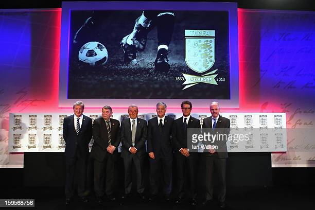 England manager Roy Hodgson poses with former England managers Graham Taylor Terry Venables Fabio Capello SvenGoran Eriksson and FA Chairman David...