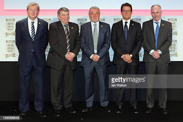England manager Roy Hodgson poses with former England managers Graham Taylor Terry Venables Fabio Capello and SvenGoran Eriksson during the official...