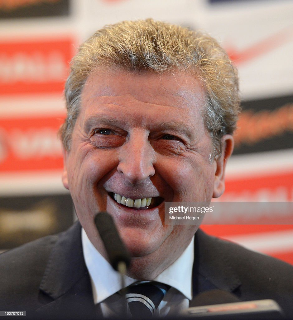 England manager Roy Hodgson snikes as he speaks to the media during the England press conference at the Churchill Hotel on February 5, 2013 in London, England.