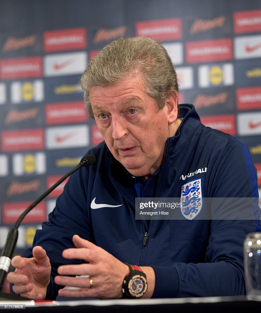 England manager Roy Hodgson speaks during a press conference, on the eve of their international friendly against Germany, at the Marriott Hotel on March 25, 2016 in Berlin, Germany.