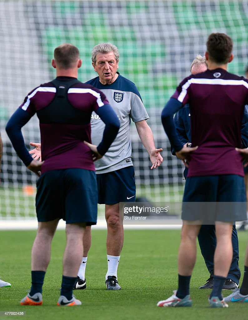 England manager Roy Hodgson (c) speaks to his players during England Training and Press Conference prior to sunday's UEFA EURO 2016 Qualifier between Slovenia and England at Stozice on June 13, 2015 in Ljubljana, Slovenia.