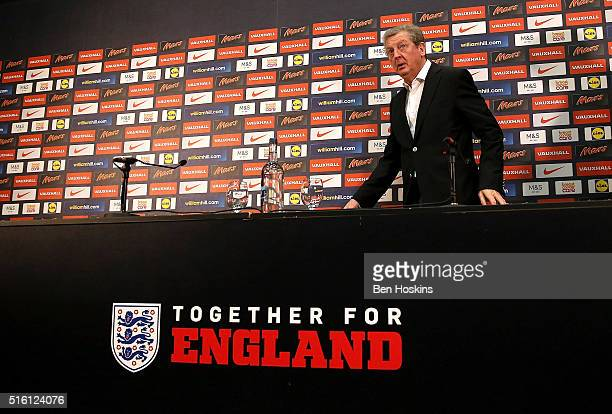 England manager Roy Hodgson speaks to the media during an England Squad Announcement at Wembley Stadium on March 17 2016 in London England
