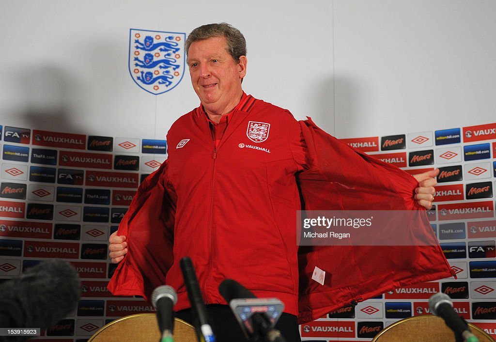 England manager Roy Hodgson speaks to the media during the England press conference ahead of their FIFA World Cup qualifier against San Marino at The Grove Hotel on October 11, 2012 in Watford, England.