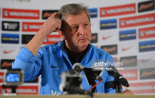 England manager Roy Hodgson speaks to the media during the England press conference at London Colney on October 10, 2013 in St Albans, England.