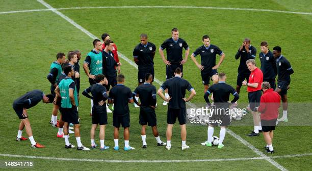 England manager Roy Hodgson speaks to the team during a UEFA EURO 2012 training session at the Olympic Stadium on June 14 2012 in Kiev Ukraine