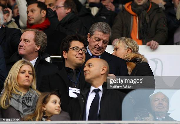 England manager Roy Hodgson stands behind comedian Michael McIntyre