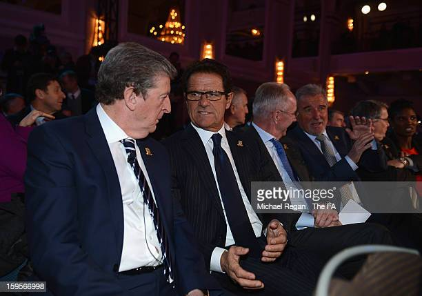 England manager Roy Hodgson talks to former England manager Fabio Capello during the official launch to mark the FA's 150th Anniversary Year at the...