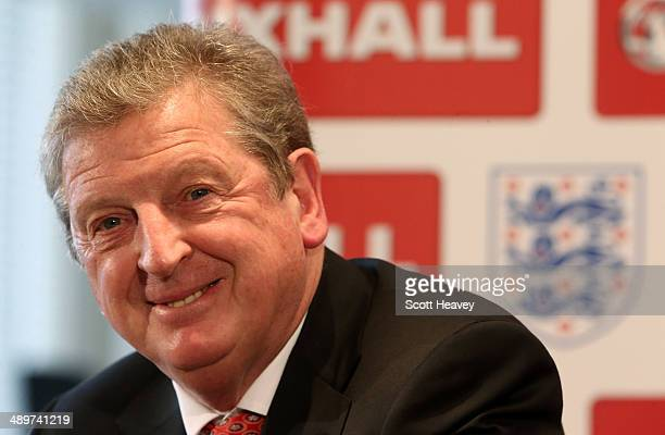 England manager Roy Hodgson talks to the media during his England Squad announcement on May 12 2014 in Luton England