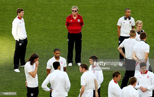 England manager Roy Hodgson walks around the pitch during an England training session at Olympic Stadium on June 23, 2012 in Kiev, Ukraine.
