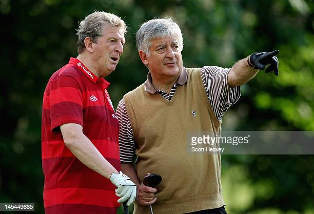 England manager Roy Hodgson with FA Chairman David Bernstein during a Vauxhall Golf Day for the England Football team at The Grove Hotel on May 30...