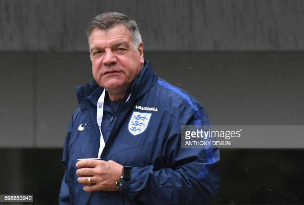 England manager Sam Allardyce arrives for a training session at St George's Park near BurtonUponTrent in Central England on September 3 2016 ahead of...
