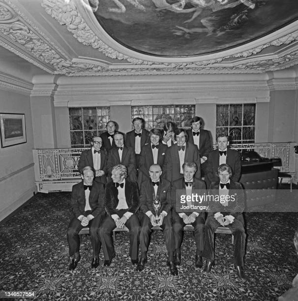 England manager Sir Alf Ramsey is reunited with his 1966 World Cup team at the Cafe Royal in London, exactly eight years after their historic win,...