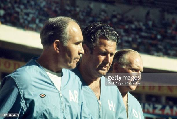 England manager Sir Alf Ramsey with trainer Harold Shepherdson and FA Administrative Officer Alan Odell during the FIFA World Cup match between...