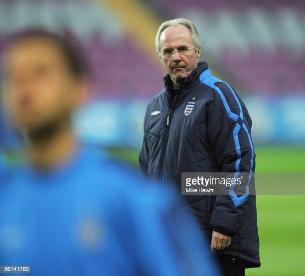 England manager Sven Goran Eriksson watches during an England training session at the Stade de Geneve on November 11, 2005 in Geneva, Switzerland.