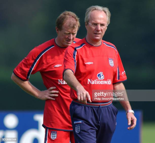 England manager Sven Goran Eriksson with assistant coach Steve McClaren during an England training session at Bisham Abbey near Marlow England 28th...