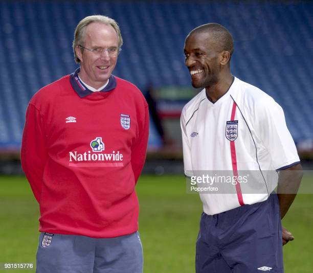 England manager Sven Goran Eriksson with Chris Powell during a training session at Villa Park Birmingham on February 26 2001