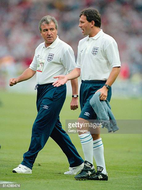 England manager Terry Venables and coach Bryan Robson chat before the 1996 UEFA European Championships semi final match between England and Germany...