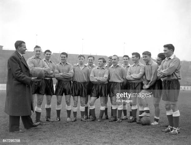 England Manager Walter Winterbottom talking to his England sqaud during a training session ahead of the match against Spain Ron Baynham John Atyeo...