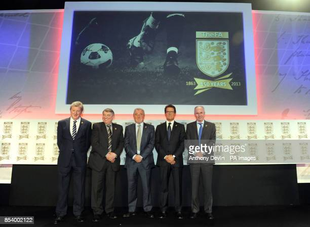 England managers past and present Roy Hodsgon Graham Taylor Terry Venables Fabio Capello and Sven Goran Eriksson during the FA Anniversary...